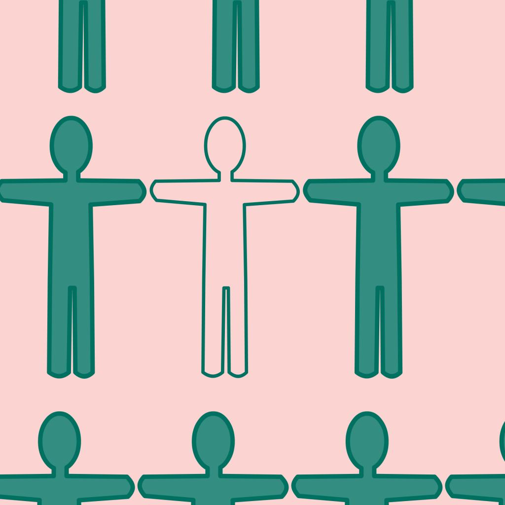 Tegning som viser menneskefigurer, og som illustrerer temaet ledige stillinger i Inderøy.